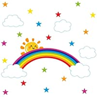 Bamsod Rainbow Wall Stickers Kids Wall Decals Nursery Home Decor 43x96cm