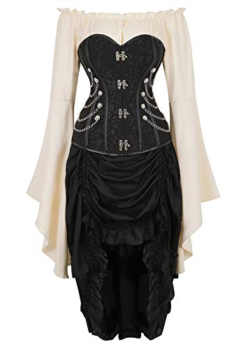 Zhitunemi Women Steampunk Corset Dress Medieval Peasant Chemise Costume Victorian Saloon Girl Dresses Black 6X-Large -