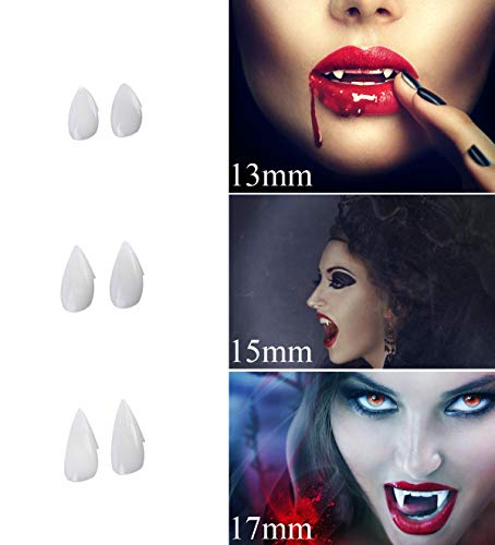 Halloween Vampire Teeth, Aukier Vampire Teeth Fangs for Halloween Cosplay Costume Props Party Decorations (13mm, 15mm, 17mm), Reusable - 3 Pairs