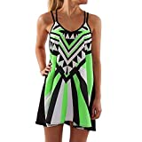 2019 Summer Sexy Dress for Women Plus Size O-Neck Camisole Sleeveless Printing Easy Mini Dresses S-5XL (Green, XXXXXL)