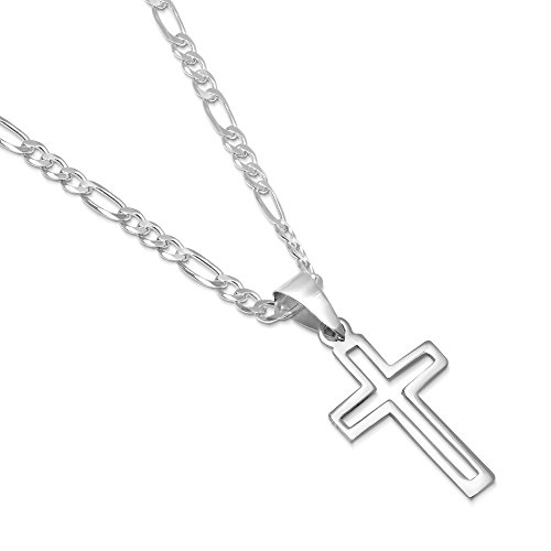 XP Jewelry Sterling Silver Open Cross Pendant Italian Made 3.0mm Figaro Chain Necklace - 080 3.0mm - 22