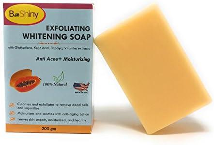 BeShiny - Jabón brillante para la piel con vitaminas de papaya Kojic acido glutatión, antiacné, antienvejecimiento, 200 g para iluminar manchas oscuras, evitar espinillas y eliminar puntos negros