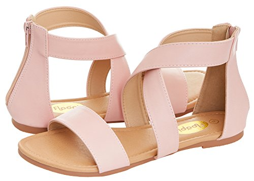 Floopi Womens Summer Criss Cross Gladiator Ankle Strap Flat Sandal W/Back Zipper (9, Pink-504) - Pink Strap Sandals