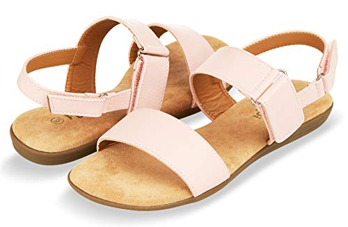 (Floopi Sandals for Women | Cute, Open Toe, Summer Sandals| Comfy, Adjustable Velcro, Faux Leather Ankle Straps W/Flat Sole, Memory Foam Insole (7, Pink-510))