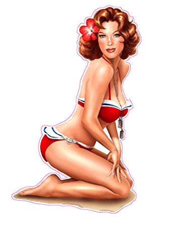 Red Head Red Swim Suit Pin Up Girl 6