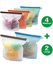 Mlife Reusable Silicone Food Storage Bags - Liquid, Fruit, Freezer Airtight Seal, Ideal for Preserving and Sous Vide Cooking - Safe to Use in Dishwasher, Microwave and Freezer (Silicone Bag 6pc)