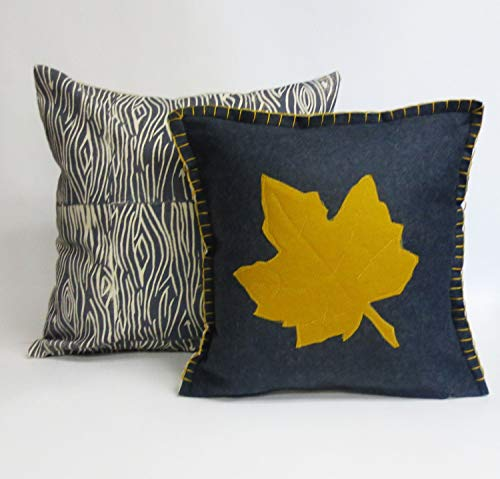 alerie Sassoon Thanksgiving Decor Felt Fall Pillowcase Cushion Cover with Leaf Applique and Hand Embroidered Edge Detailing ()