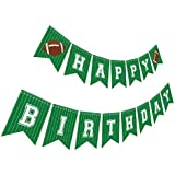 Silvima Football Birthday Banner | Football Theme Happy Bday Bunting Sign, Football Party Decoration