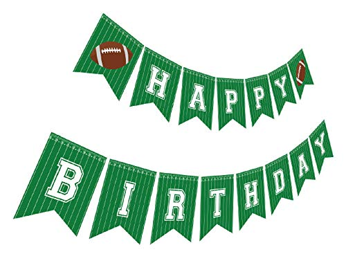 Silvima Football Birthday Banner | Football Theme Happy Bday Bunting Sign, Football Party Decoration]()