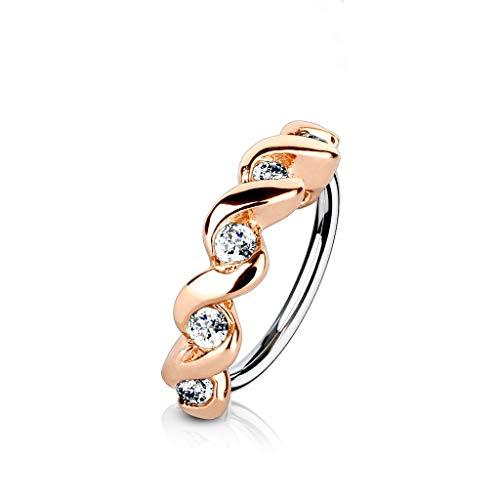 Amelia Fashion 18 GaugeTwisted Half Circle CZ Set Nose Hoop/Cartilage Ring Annealed 316L Surgical Steel (Choose Color) (Rose Gold & Clear)