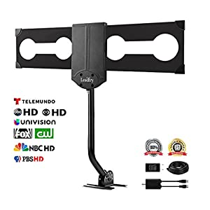 LeadTry ANT-OTD09 Outdoor TV Antenna, 150+ Mile Reception Rang with Signal Booster, Attic/ Roof TV Receiver, Omni-Directional Reception for High-Gain FM/ VHF/ UHF, 33 Ft Highl Cable (150+ UP)