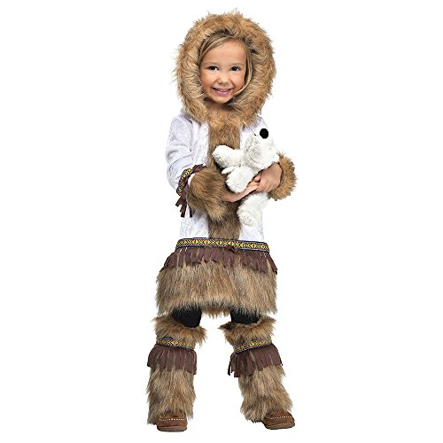 Cowgirl Costumes For Baby (Fun World Costumes Baby Girl's Eskimo Toddler Costume, White/Brown, Small 24Month - 2T)