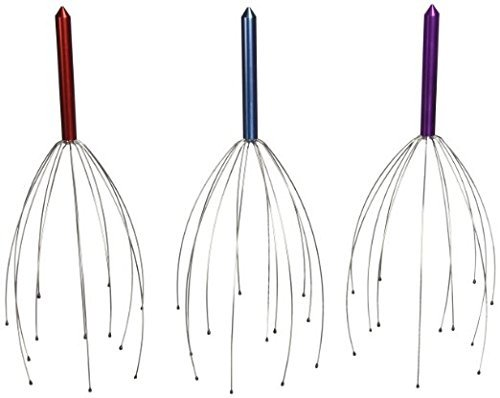 Great Rocky Hand Held Scalp Head Massager – Pack of 3 (Colors May Vary)
