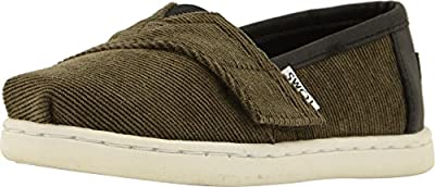 TOMS Kids Baby Boy's Alpargata (Infant/Toddler/Little Kid) Tarmac Olive Micro Corduroy/Synthetic Leather 3 M US Infant