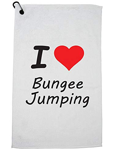 Hollywood Thread I Love Bungee Jumping with Big Red Heart Golf Towel with Carabiner Clip by Hollywood Thread