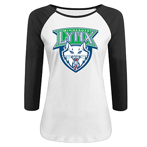 Christian Womens Raglan Sleeve (Women's Minnesota Lynx 100% Cotton 3/4 Sleeve Athletic Baseball Raglan T-Shirt Black US Size XXL)
