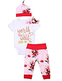 Newborn Baby Girl Clothes Floral Bodysuit Romper + Pant + Hat + Headband Outfits