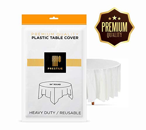 Plastic Tablecloth (6 Pack) Premium Disposable White Tablecloths 84 Inches Round' Party BBQ Birthday Tablecloth Multiuse Table Cover (Birthday Party Tablecloth Round)