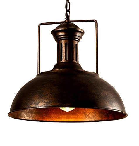 - OYI Retro Industrial Pendant Lighting, Vintage Nautical Barn Pendant Light Oil Rubbed Rustic Dome Bowl Shape Mounted Light Fixture Ceiling Lamp (Rust Copper)