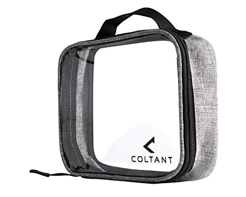 Coltant Clear Travel Toiletry Bag TSA Approved, Pack of 2 - Quart Sized Airline Compliant Carry On Luggage Bags - Backpack For Toiletries, Shaving Kit, Shampoo, Makeup, Cosmetic Accessories ()
