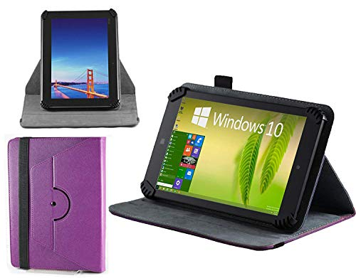 """Navitech Purple Leather Case Cover with 360 Rotational Stand & Atlas Stylus Compatible with The Wallmart Onn 8"""" Android Tablet"""
