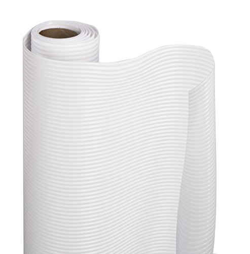 Smart Design Shelf Liner w/Ribbed Grip - Wipes Clean - Cutable Material - Non Slip Design - NSF - for Shelves, Drawers, Flat Surfaces - Kitchen (12 Inch x 6 Feet) [White] ()