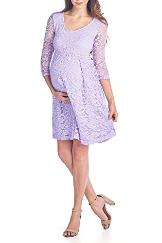 Beachcoco Women's Maternity 3/4 Sleeve Knee Length Lace Dress (XL, Lavender) Sleeve Maternity Dresses