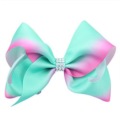 Girl Rainbow Bows Hairpin large rib Grosgrain Ribbon Bow Hair Clip Baby (Color - - Slinky Magenta