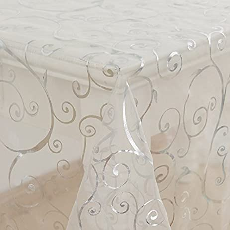 Deconovo Organza Glittering Shining Gift Decorative Fabric Sheer Tablecloth  For DIY Design Wedding Party Decorations Table