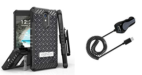 Diamond Depot Blades (Beyond Cell Tri-Shield Holster Case [Diamond Plate] Bundle with Cellet 15W Type-C Car Charger with Extra USB Port, Atom LED for ZTE Blade Spark, Max One LTE, Grand X 4)