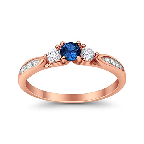 Ring Sapphire Rose (Blue Apple Co. 3 Stone Accent Wedding Engagement Ring Round Simulated Sapphire Rose Tone Plated 925 Sterling Silver)