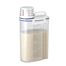 Asvel 7509 Rice Container Bin with Pour Spout Plastic Clear 2KG 1 Plastic bin that stores and pours dry rice There is a measuring cups that screws on over the pour spout! Maximum capacity 4. 4 pounds / 2 kg