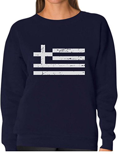 - TeeStars - Vintage Greece Flag Retro Style Greek Women Sweatshirt Medium Navy