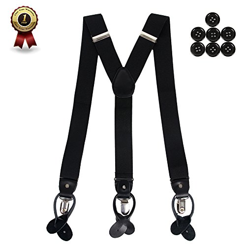 Men's Y Back Suspenders with Strong Clips&Leather Joint& Button End Strap& Heavy Duty - Suspender Buttons Pants