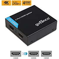 gofanco 4K HDMI Splitter 1x2 Port HDMI to HDMI Signal Distributor with 4 EDID MODES, Supports up to Ultra HD 4K @30Hz,3D, Compliant with HDMI and HDCP standards, 1 in 2 out, 1 to 2