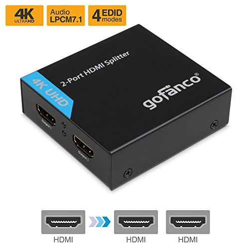 gofanco 4K HDMI Splitter 1x2 Port HDMI to HDMI Signal Distributor with 4 EDID MODES, Supports up to Ultra HD 4K @30Hz,3D, Compliant with HDMI and HDCP standards, 1 in 2 out, 1 to 2 (Splitter2P)