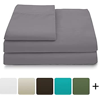 Cosy House Collection Luxury Bamboo Bed Sheet Set - Hypoallergenic Bedding Blend from Natural Bamboo Fiber - Resists Wrinkles - 4 Piece - 1 Fitted Sheet, 1 Flat, 2 Pillowcases - Queen, Grey