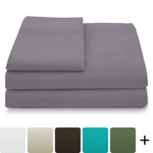 Cosy House Collection Luxury Bamboo Bed Sheet Set – Hypoallergenic Bedding Blend from Natural Bamboo Fiber – Resists Wrinkles – 3 Piece – 1 Fitted Sheet, 1 Flat, 1 Pillowcase – Twin, Grey