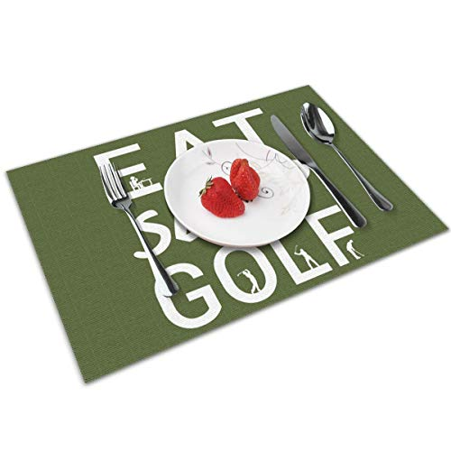 Candy Ran Eat Sleep Golf Indoor/Outdoor Placemats/Place Mats/Table Mats Set of 4, Kitchen Tablemats for Dining Table, Non-Slip Washable Heat Resistant -