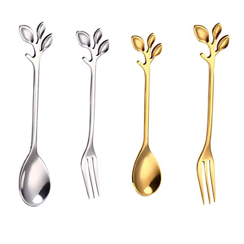 - PinnacleT1 Mini Spoons Forks Set,Premium Stainless Steel Iced Teaspoon,Ice Cream Spoon,Coffee Espresso Demitasse Vintage Spoon 4.5