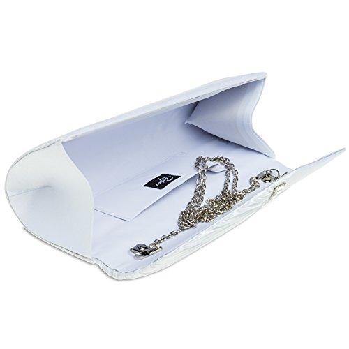 Drappeggio In Donna E Con Strass Caspar Pochette Ta391 Bianco Elegante Raso Iz1xBFq