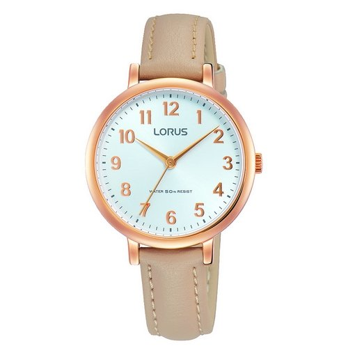 LORUS- QUARTZ LADIES ROSE GOLD TAN STRAP WATCH