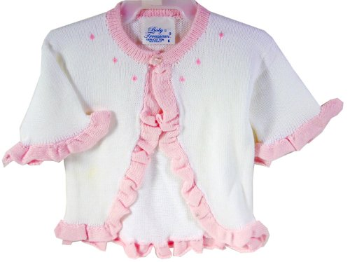 Baby's Trousseau Girls Knit White & Pink Ruffled Trim Sweater