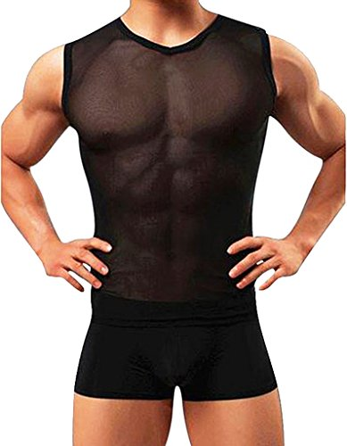 d34c79a7383 Olens Men's Underwear Sleeveless Vest Tank Top Mesh Fishnet Undershirt - Buy  Online in Oman. | Apparel Products in Oman - See Prices, Reviews and Free  ...