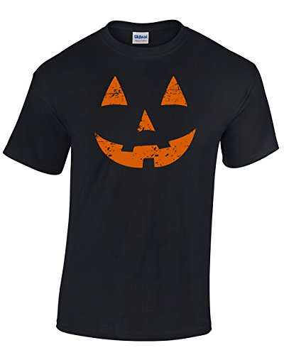 Tee-O-Rama Jack O' Latern Pumpkin Tee for Halloween- Easy Costume Idea Premium Men's T-Shirt (Large, Black)