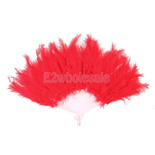 20s Burlesque Costume (BURLESQUE SHOWGIRL 1920s DELUXE FEATHER HAND FAN FANCY DRESS COSTUME RED)