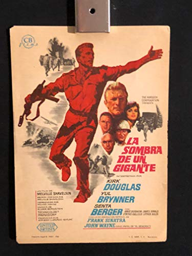 Cast A Giant Shadow 1966 Original Vintage Spanish Herald Program Movie Poster, Kirk Douglas, Frank Sinatra, Rat Pack, Yul Brynner, John Wayne