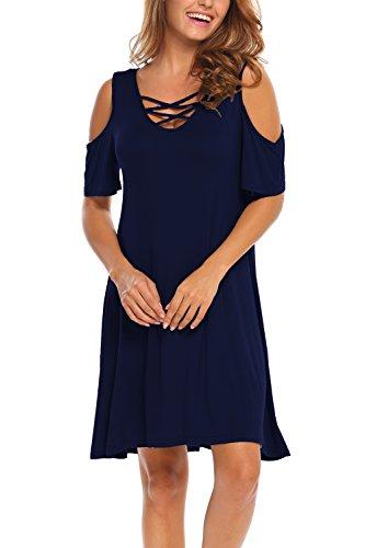 BLUETIME Women Casual Summer Dress Short Sleeve Cross Neck Cold Shoulder Dress (L, Navy Blue)