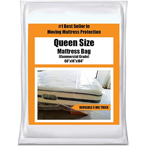 (Queen Mattress Bag Cover for Moving or Storage - 5 Mil Heavy Duty Thick Plastic Wrap Protector Reusable Bags Supplies)