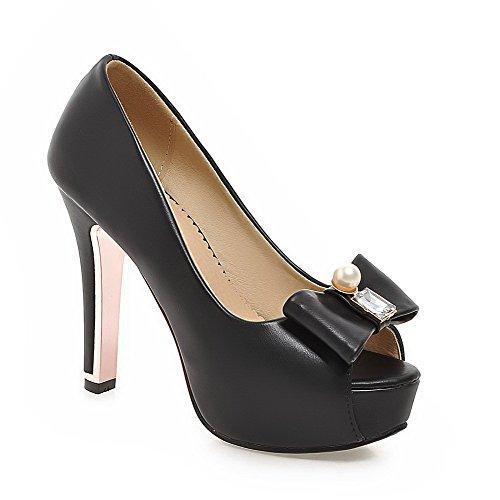 Pull High WeenFashion Heels Sandals On Toe PU Women's Peep Solid Black gwtTHSnxt